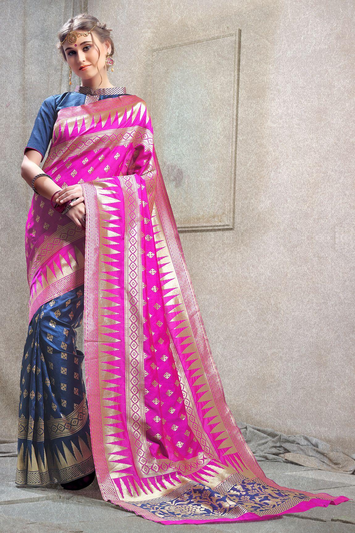 9630d66d08 Pink woven kanchipuram silk saree with blouse Shop ultimate collection of  Kanchipuram silk sarees online at