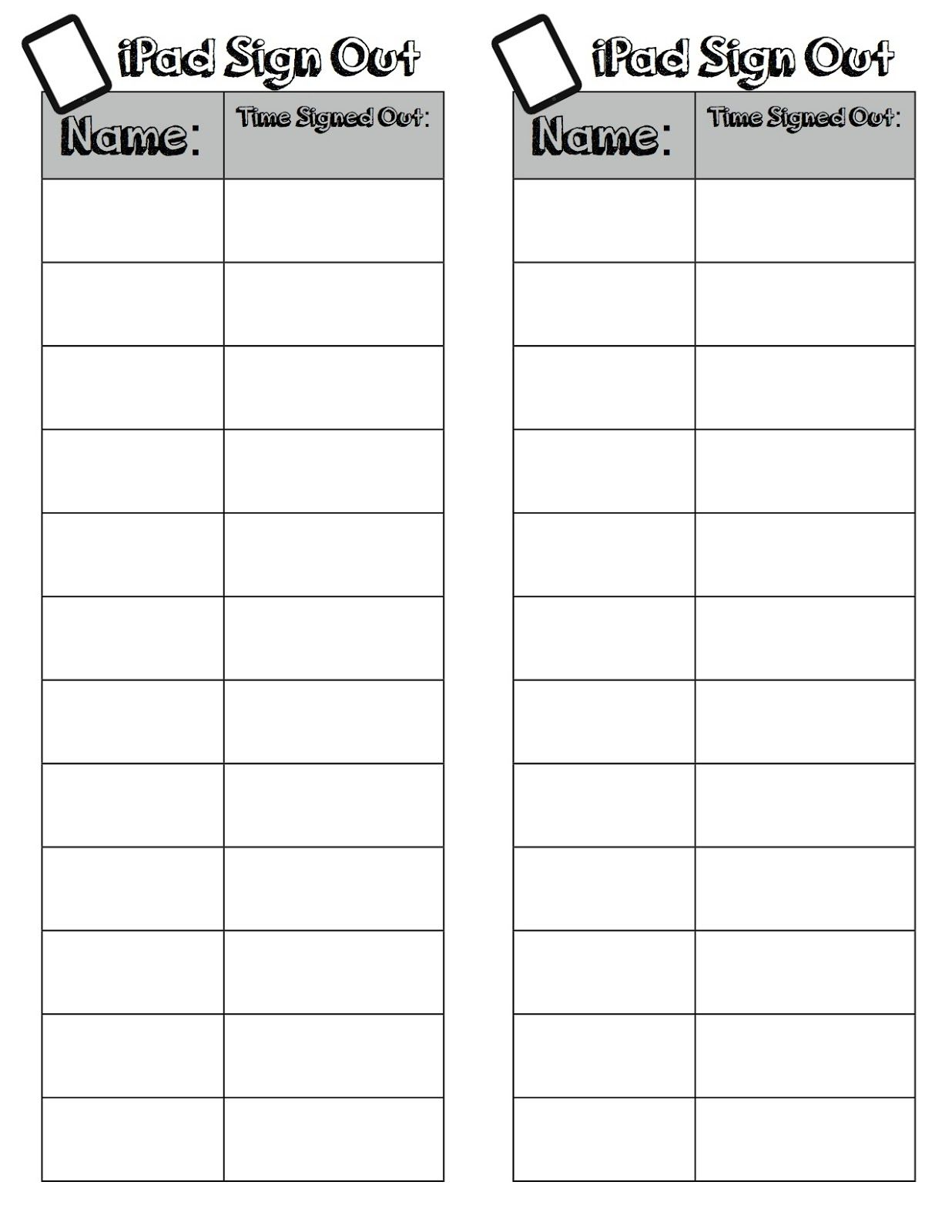Ipad Sign Out Freebie  Ipad Computer Teacher And School Counselor