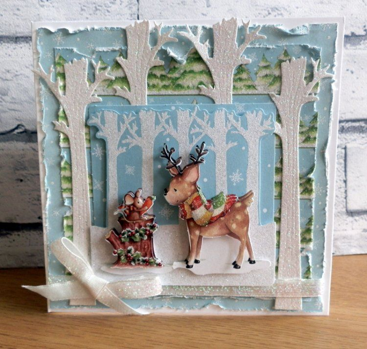 Stunning Helz Cuppleditch  Winter Woodland Christmas snowy card by Maxine