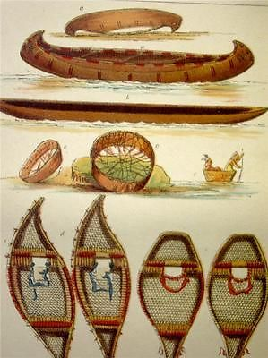 Antique 1880 George Catlin Colored Engraving Snow Shoes Canoes | eBay