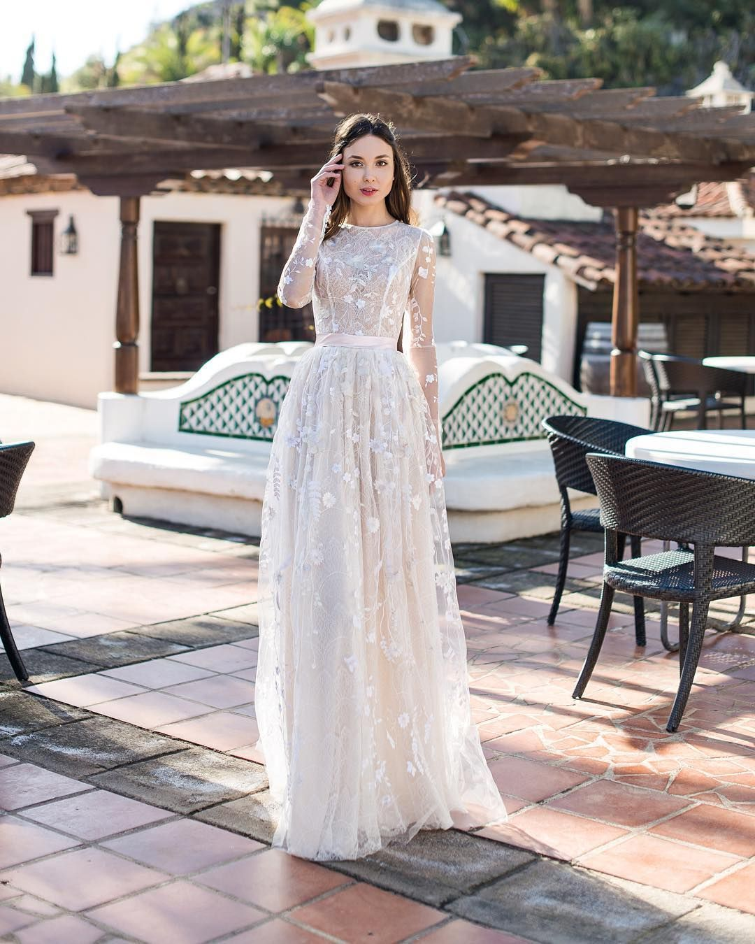 Long Sleeves A Line Wedding Gown Charming Lace, Careful