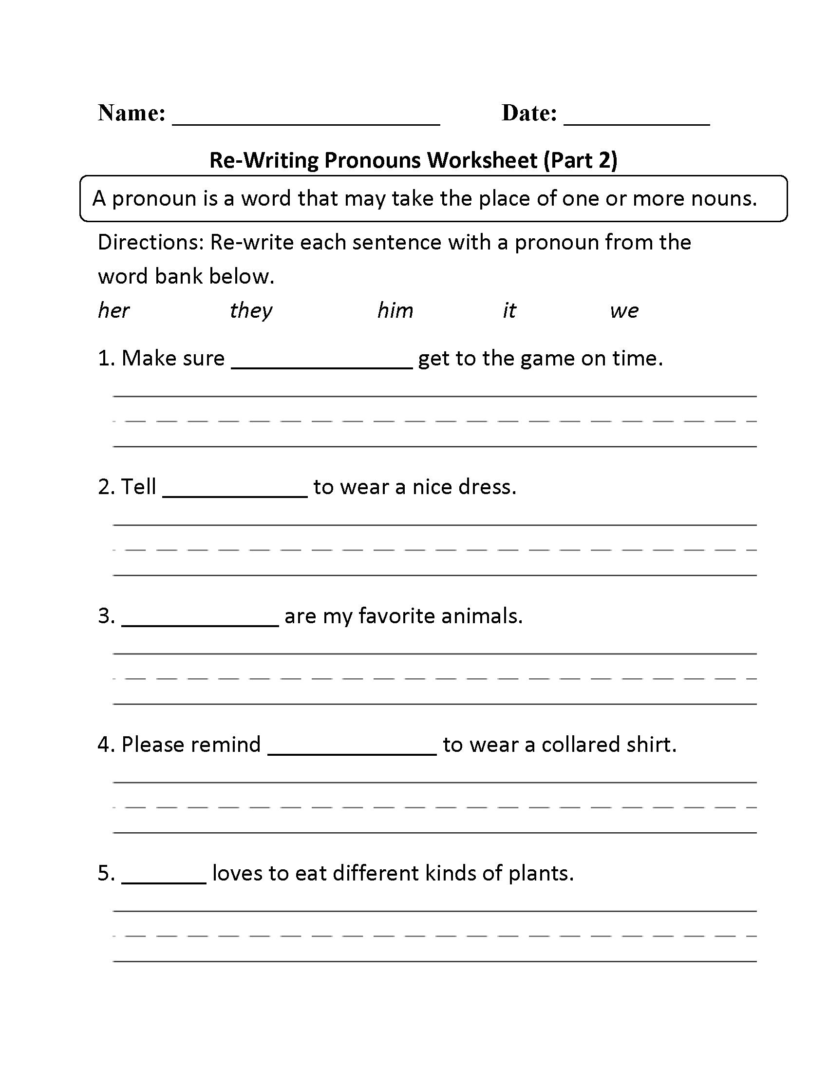 Re Writing Pronouns Worksheet Part 2