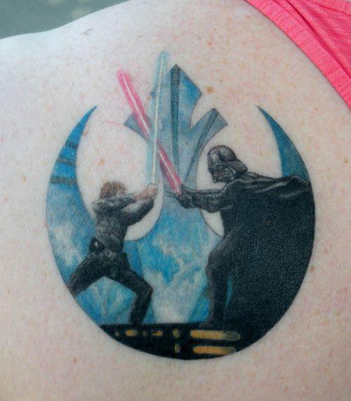 The first battle between Skywalker and Vader makes for a damn fine tattoo.  #InkedMagazine #tattoo #Lightsaber #tattoos #StarWars #sith #jedi #darkside #theforce