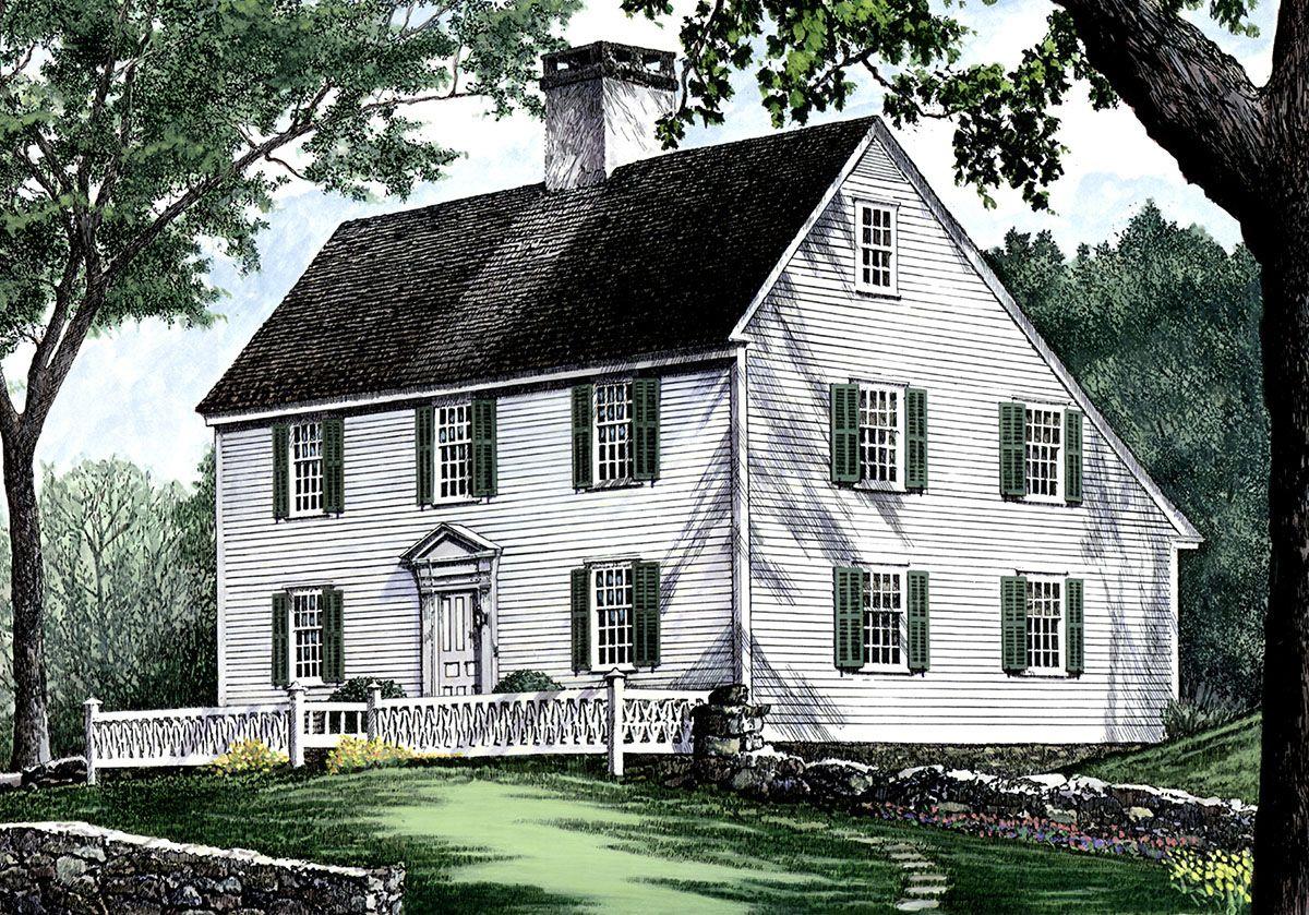 Plan 32439wp Saltbox Style Historical House Plan Historical House Plans Colonial House Plans Colonial House