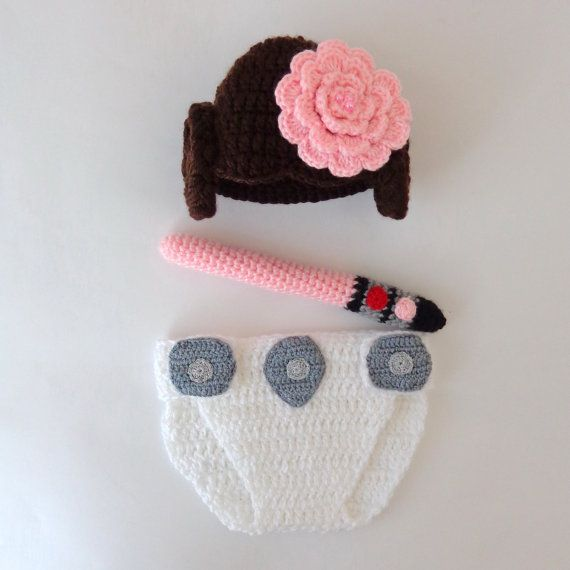 Princess Leia Baby Costume - Hat And Diaper Cover With Light Saber ...