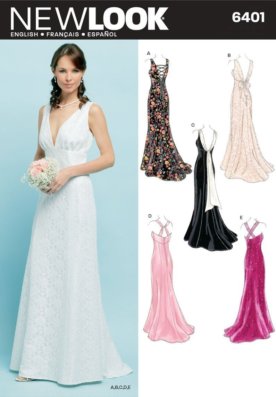 Amazon Com New Look Sewing Pattern 6401 Misses Special Occasion Dresses Size A 8 10 12 14 16 1 Patentes De Robes De Mariee Patron Robe De Mariee Modele Robe