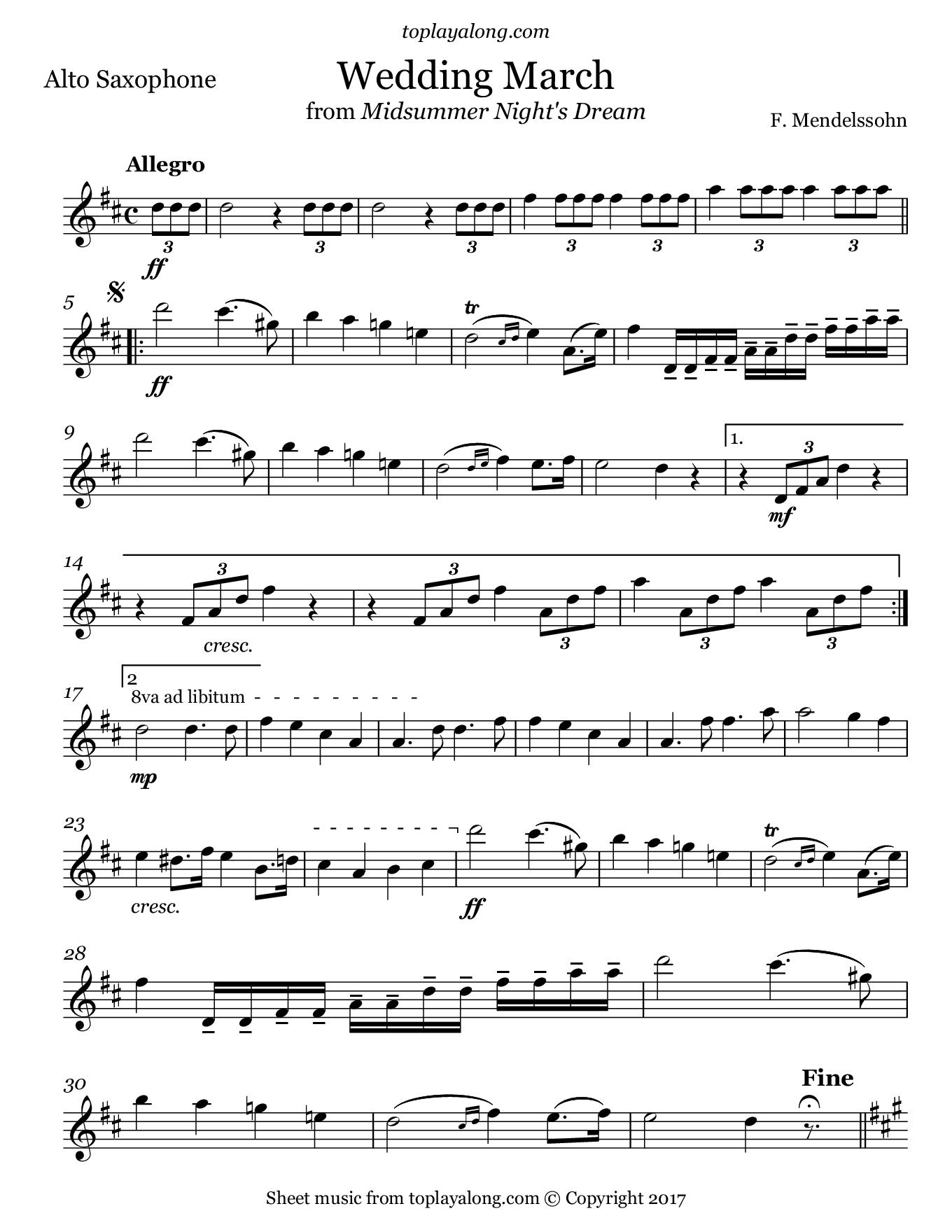 Mendelssohn Wedding March From Midsummer Night S Dream A Midsummer Night S Dream Midsummer Alto Sax Sheet Music