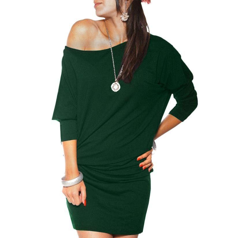 Fashion Winter Women Long Sleeve Party Dress Off Shoulder Elegant Mini Dress Green Red Clothing Plus Size