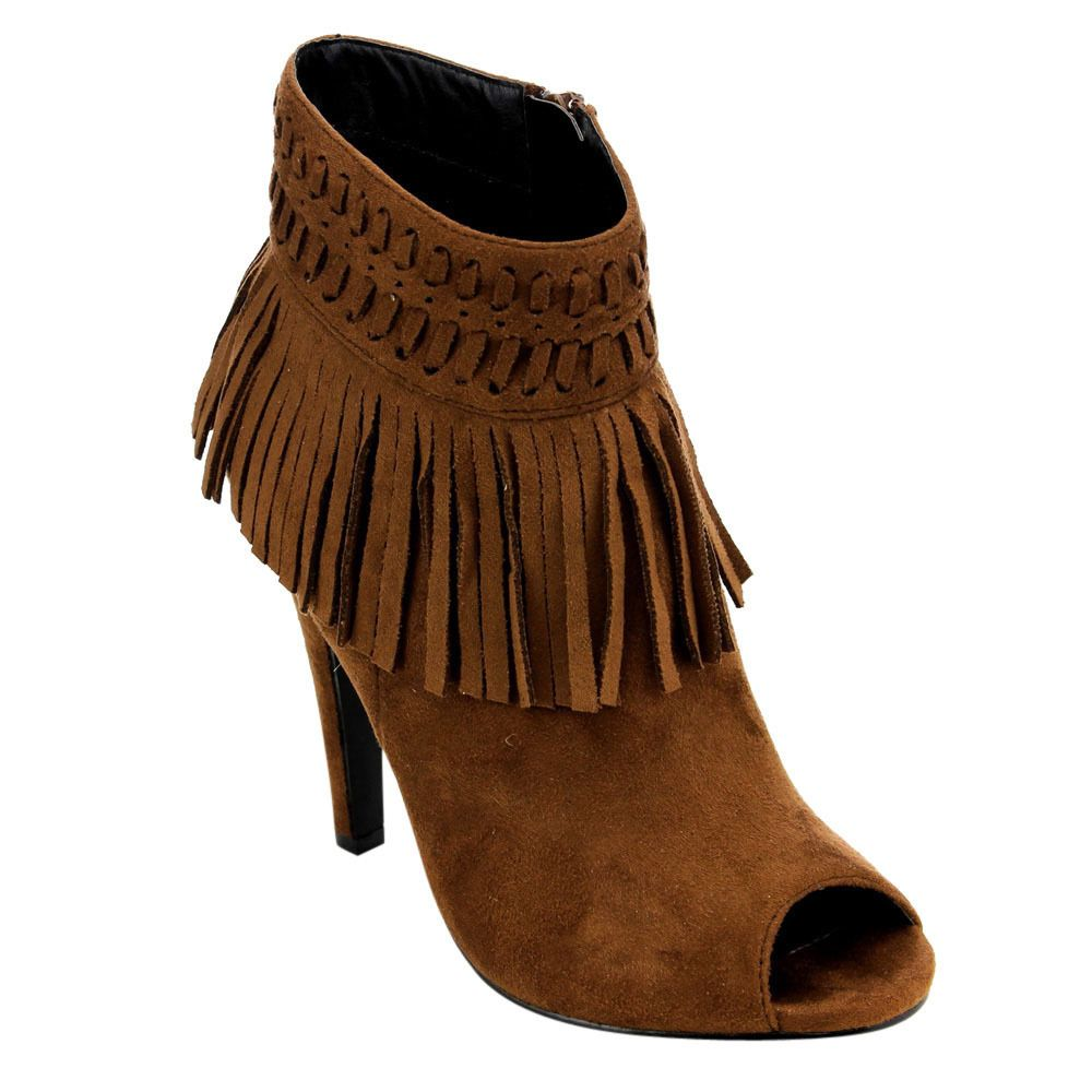 C Label Women's AD65 Fringe Side Zipper Stiletto Black/Beige/Orange/ Faux Ankle Booties