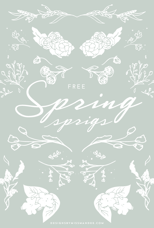 Spring Sprigs - FREE Clip Art - Designs By Miss Mandee. These floral doodles are just the thing you need to add a little hand drawn fun to your next design. Great for printable designs and photo overlays.
