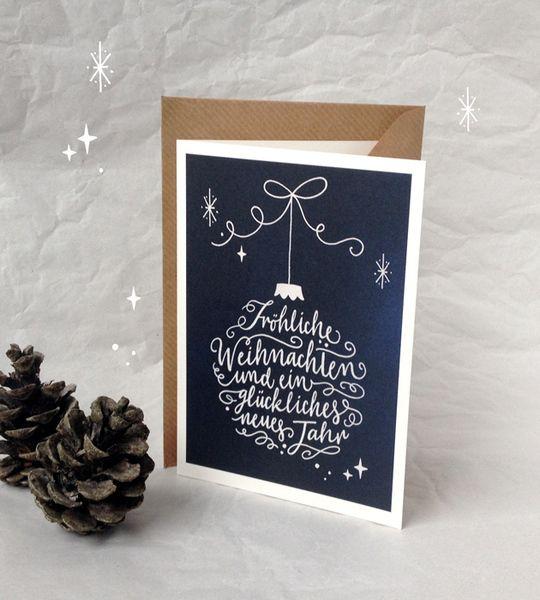 schicke weihnachtskarte mit handlettering motiv und viel. Black Bedroom Furniture Sets. Home Design Ideas