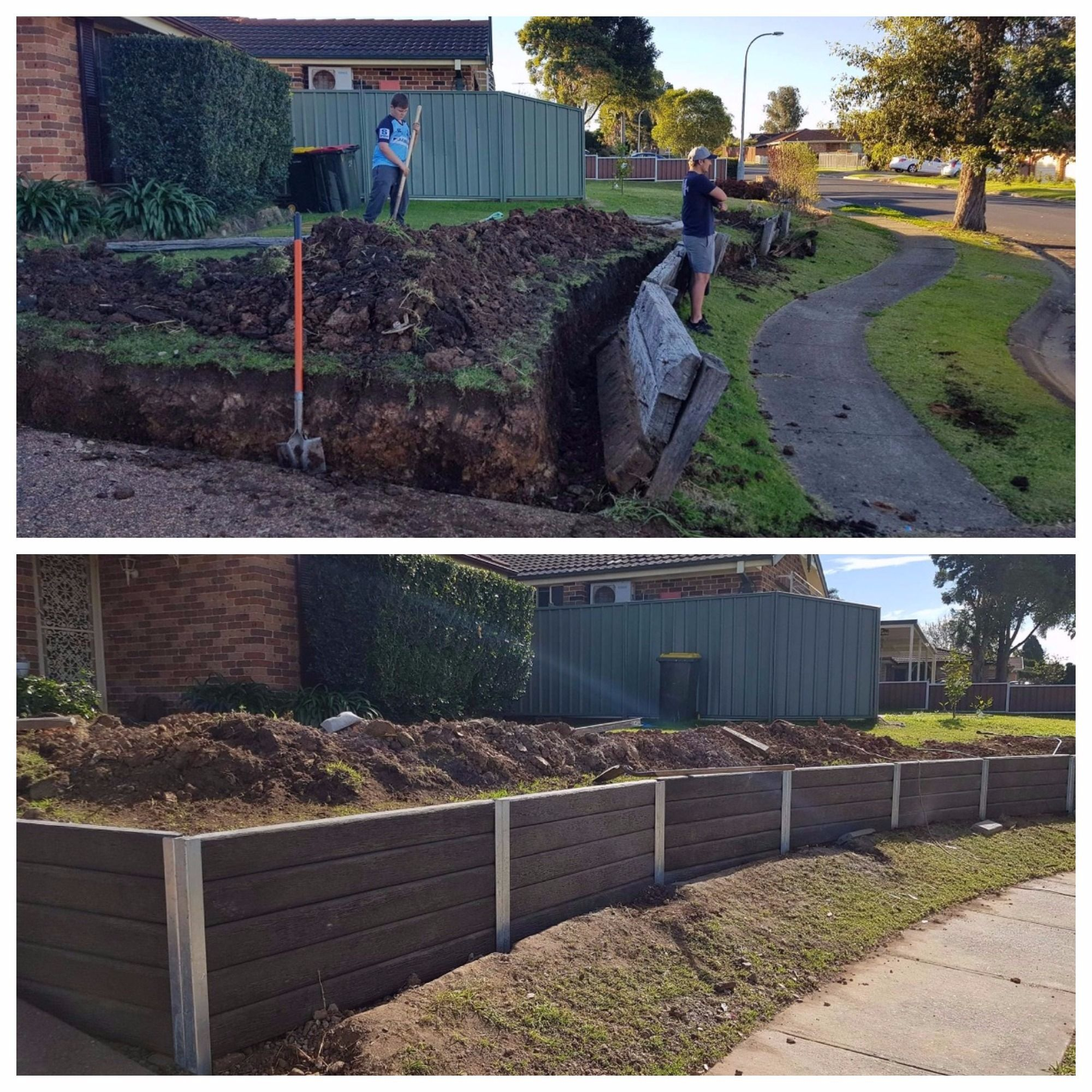 Before After Shot Using Ridgi Ironbark Concrete Sleepers And Steel Post Retaining Wall System For More Retaining Wall Steps Retaining Wall Concrete Sleepers