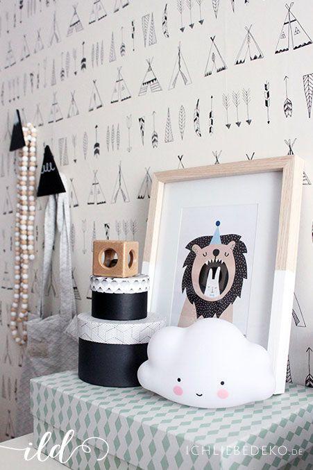 se babyzimmer deko mit kleiner wolkenlampe nachtlicht von a little lovely company tipi tapete von ferm living wandhaken aufbewahrungsdosen und kisten - Fantastisch Tolles Dekoration Ferm Living Korb