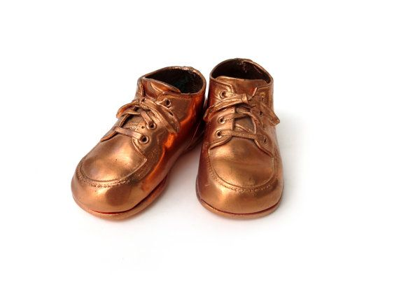 c1950s Bronze Copper Baby Toddler Shoes, Hard Sole Laced-Up Leather Walking Shoes -- by ThirdFloorRetro