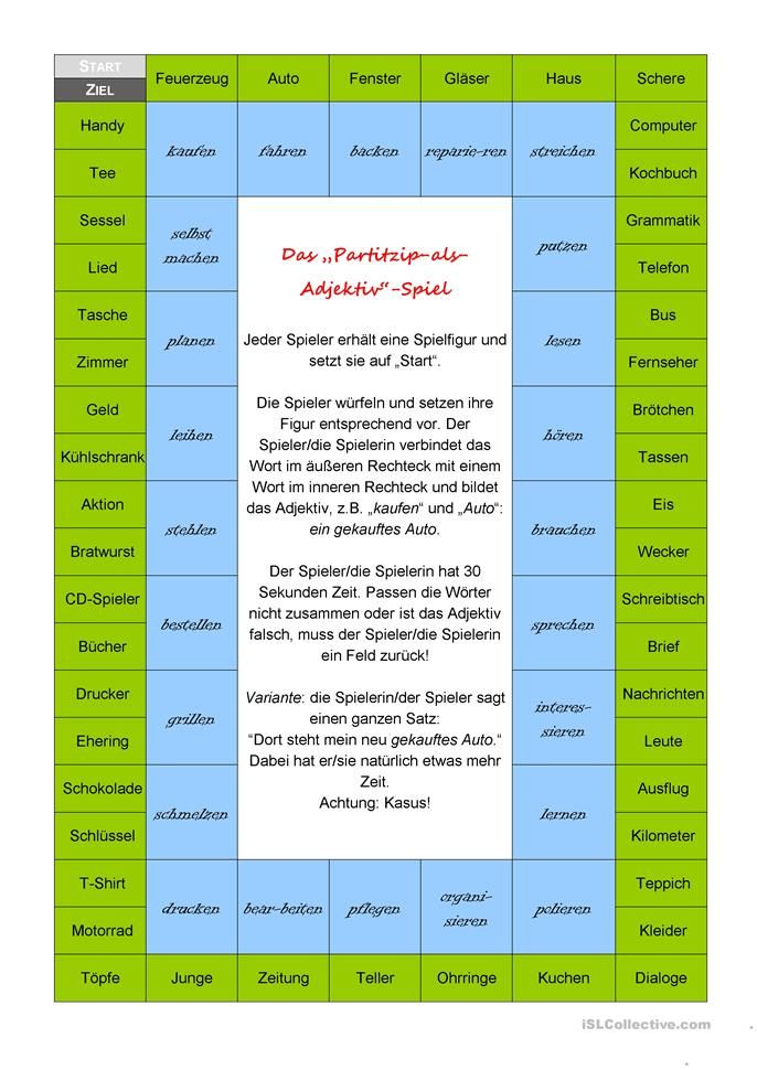 Adjektiv-Spiel | Deutsch | Pinterest | Deutsch, Worksheets and School