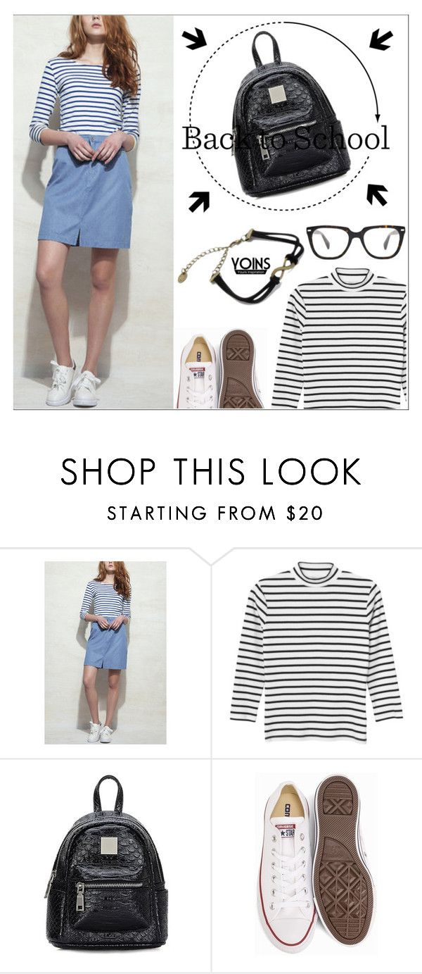 """Yoins27: Back To School"" by shambala-379 on Polyvore featuring Monki, Converse, BackToSchool, stripes, casualoutfit, denimskirt and yoins"
