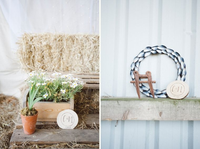 custom etched wood slices. Mussel shell wreath available to buy at littlehouseintown.co.uk nik & chris | an eco-friendly, handmade coastal welsh wedding » Home