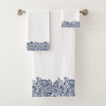 Elegant Navy Blue Paisley Swirls Lace Bath Towel Set Zazzle Com Blue Bathroom Accessories Navy Blue Bath Rugs Bath Towel Sets