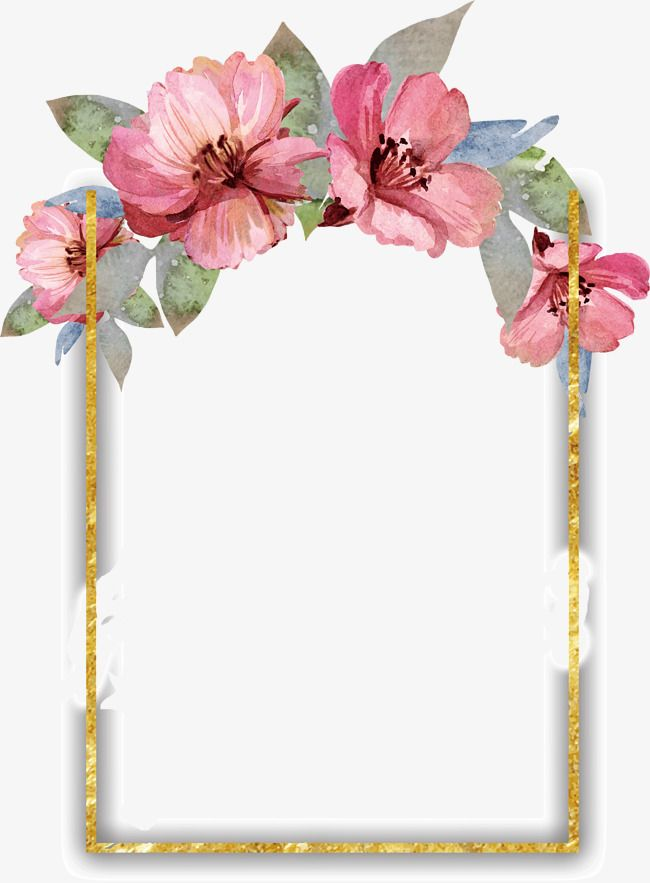 Pretty Watercolor Flowers Border Flower Frame Watercolor