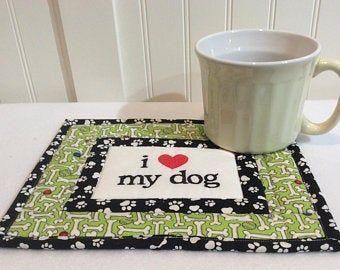 Cat Mug Rug, I Love My Cat, Cat Mat, Cat, Cat Placemat, Snack Mat, Coaster, Quiltsy Handmade