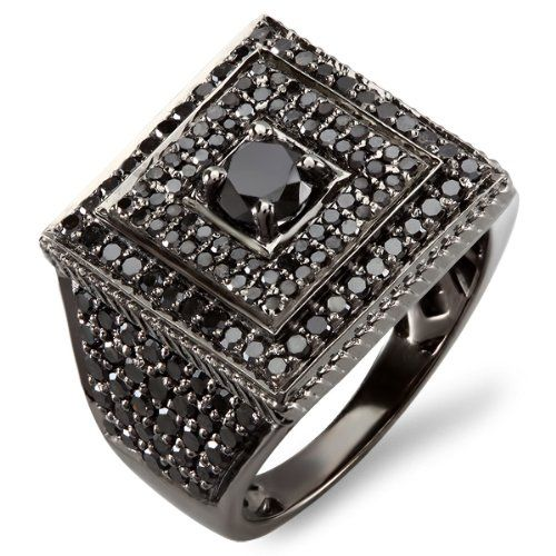 diamond pinky rings for men 10k White Gold Round Black Diamond
