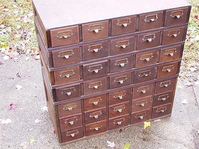 VINTAGE YAWMAN and ERBE OAK STACKING FILE CARD CABINET..5 stacking ...
