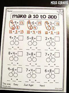 Making A 10 To Add Math Strategies First Grade Math Math Lessons Make a ten strategy worksheet