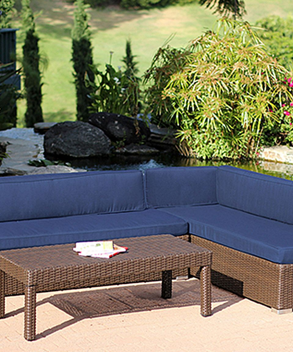 This Blue Three-Piece Wicker Sectional Set by Jeco Inc. is perfect! #zulilyfinds