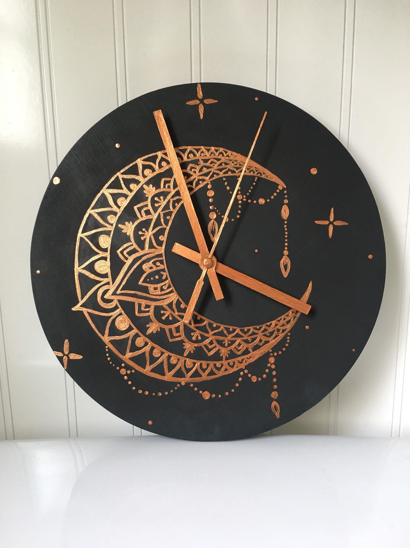 Mandala Moon Clock Hand Painted Etsy Moon Clock Clock Painting Clock Art