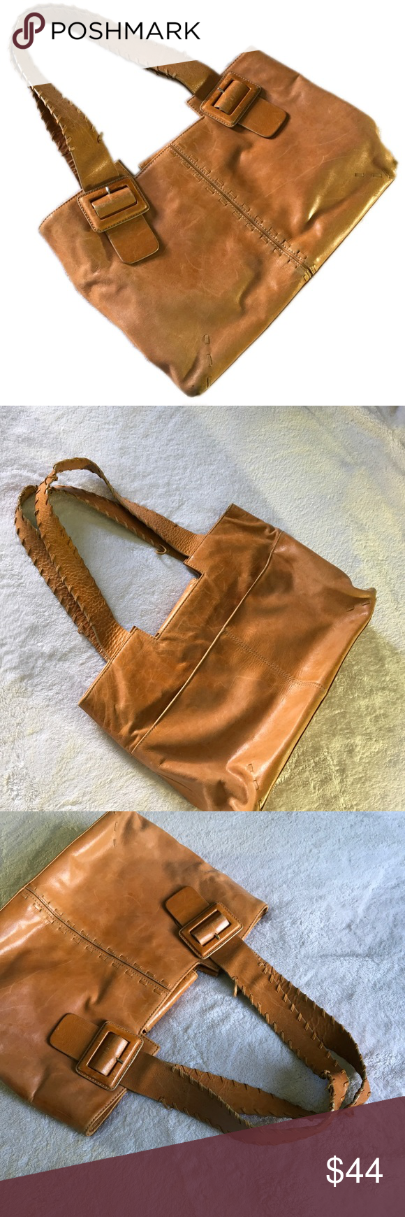 Franklin Covey Light Brown Leather Tote Bag Small Flap With On Keep Closed Nice