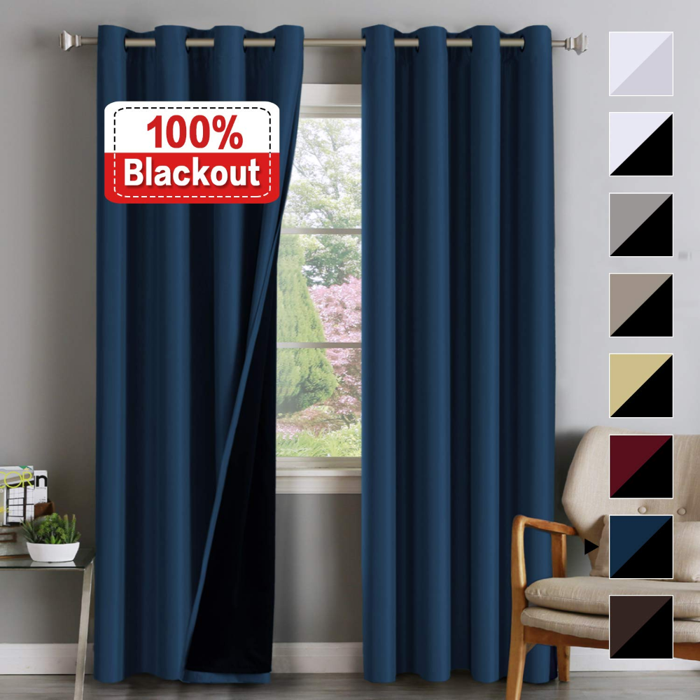 Amazon.com: 100% Blackout White Curtains For Bedroom 96