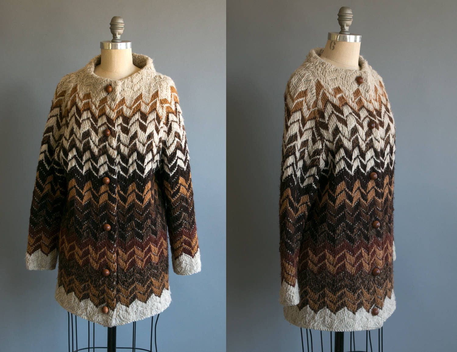 Vintage 1970's Long Zig Zag Pure Wool Woven Sweater with Round Wool Buttons/ Women's Retro Bohemian Size Medium Large by thiefislandvintage on Etsy