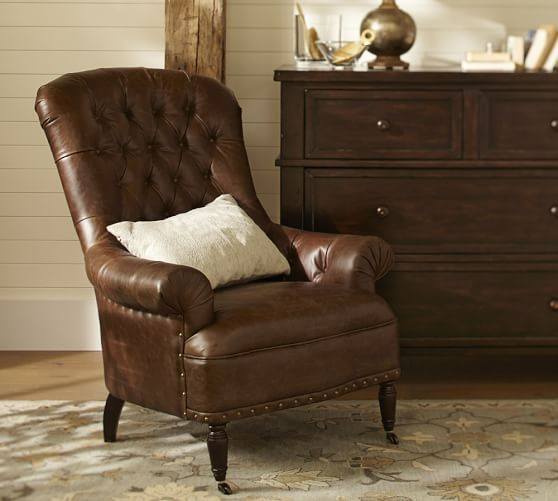Radcliffe Tufted Leather Armchair | Pottery Barn