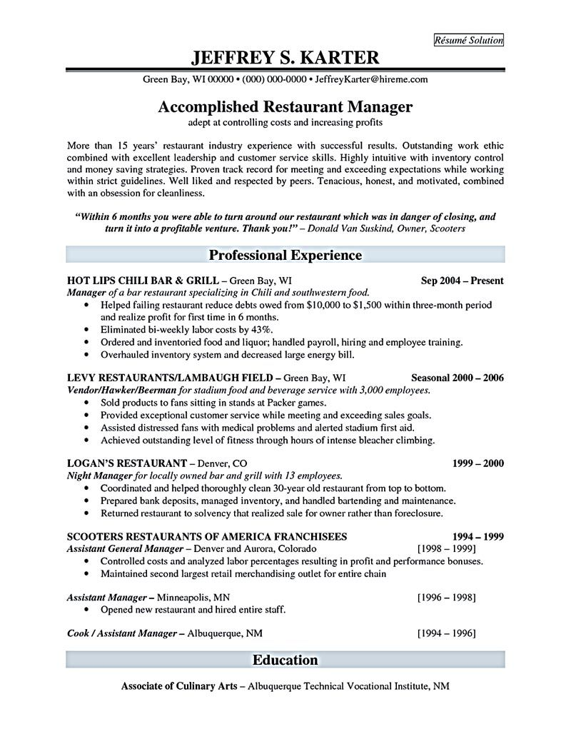 Restaurant Resume Objective Restaurant Manager Resume Will Ease Anyone Who Is Seeking For Job