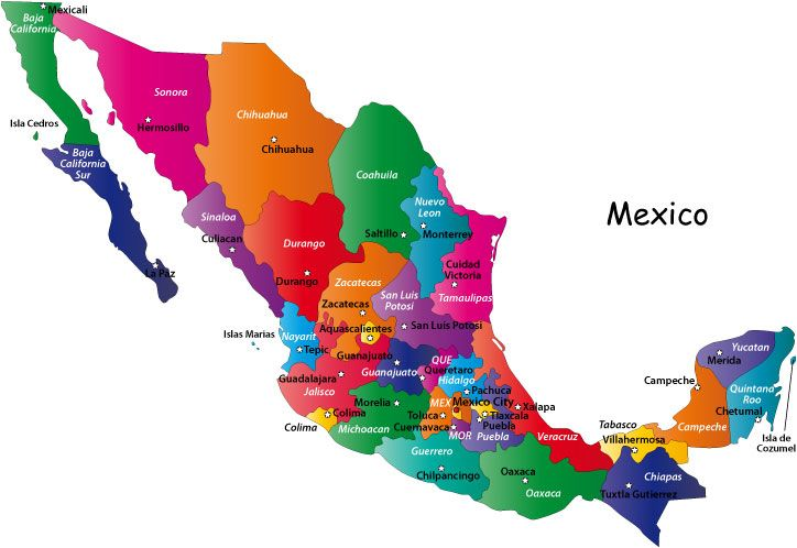 mexico states and capitals colorful map of mexico showing mexican states and state capitals