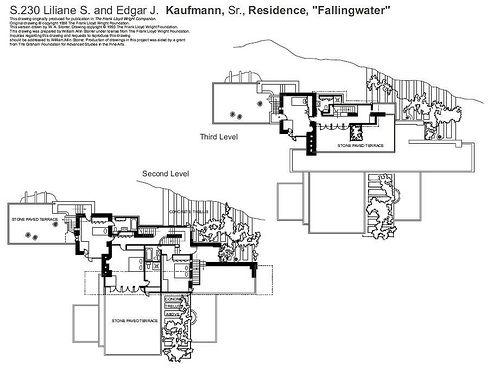 Plans de la maison sur la cascade de frank lloyd wright - La maison sur la cascade ...