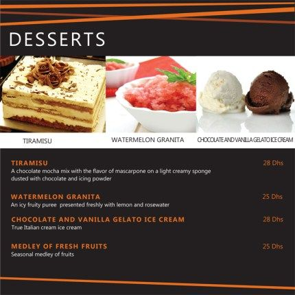 Our #Italian #dessert Menu. Click Our Website For More Details  Www.pompeiipizzadubai  Dessert Menu Template
