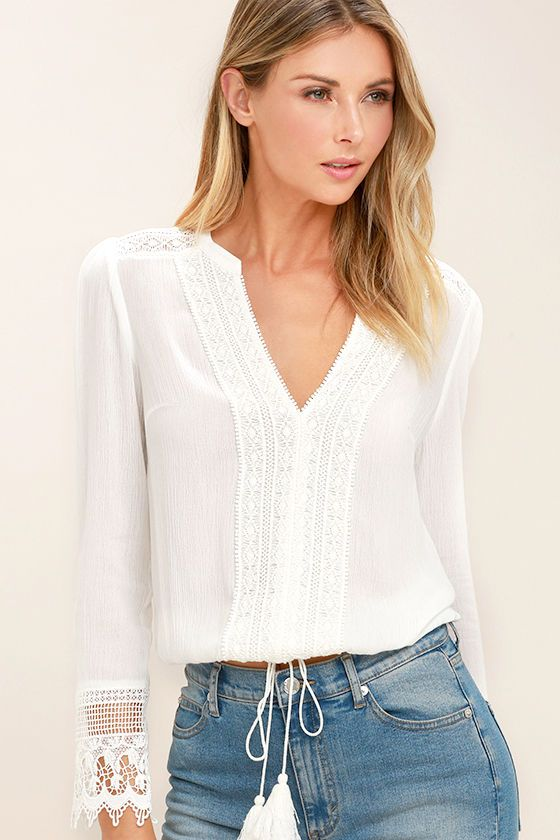 12843d402cc Bali Daydream White Lace Long Sleeve Top | Fashion for all women ...