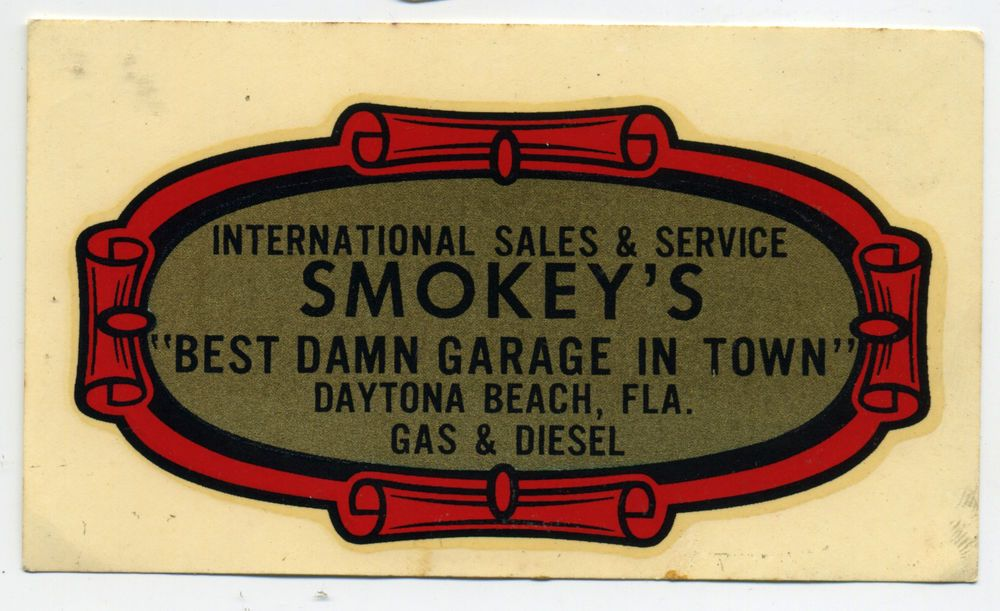 Vtg Smokey S Garage Decal Daytona Beach Hot Rod Nascar Race Smokey