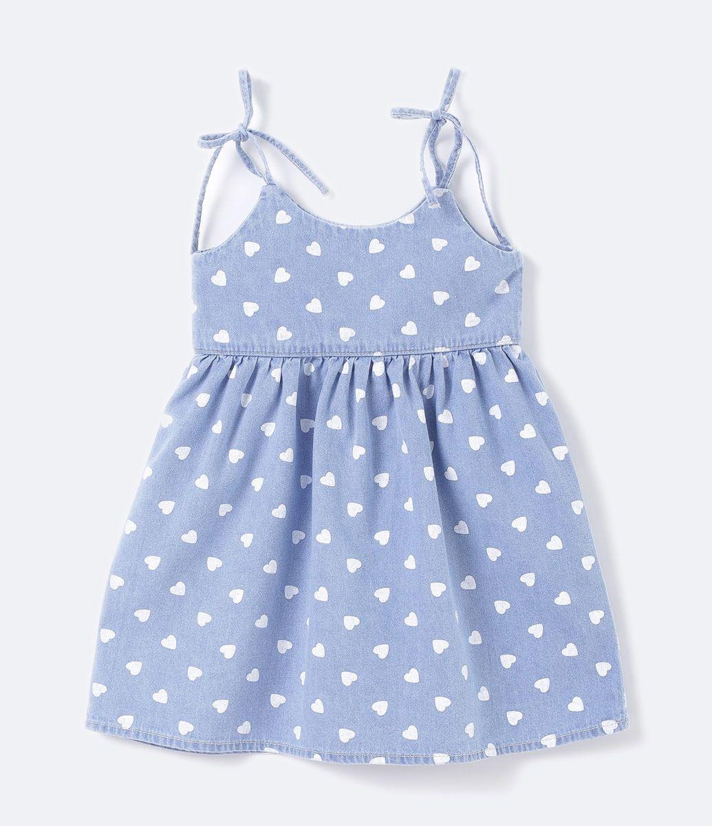 b6285ab376e0ad Vestido Infantil Regata com lacinho Estampa de corações Marca: Póim ...