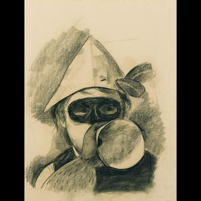 Felix Nussbaum, 1904-1944. Selbstbildnis mit Maske und Schalltrichter, um 1936, Kohle auf braunem Papier, 63 x 49 cm     http://www.felix-nussbaum.de/werkverzeichnis/