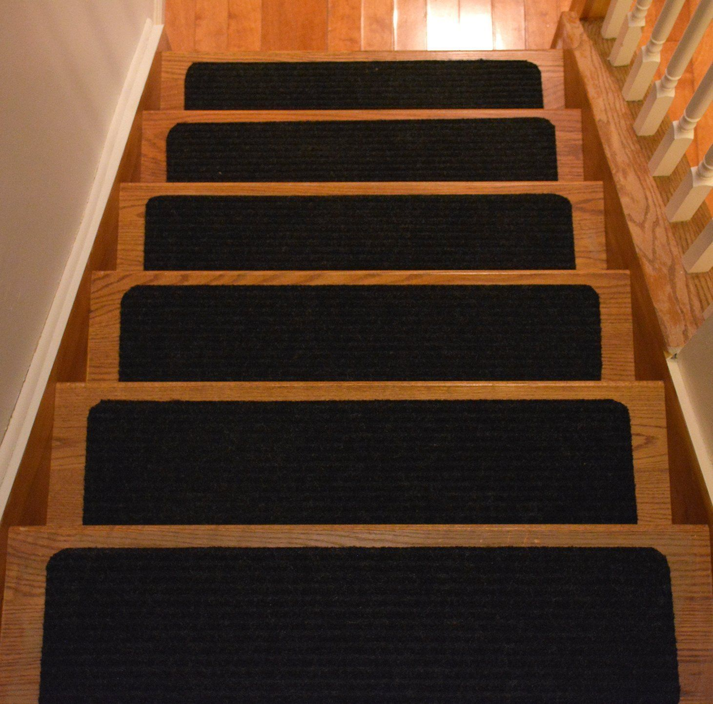 Robot Check Stair Tread Rugs Carpet Stair Treads Carpet Stairs | 8 Inch Carpet Stair Treads | Bullnose Carpet | Wood Stairs | Rubber Backing | Mat | Non Slip Stair