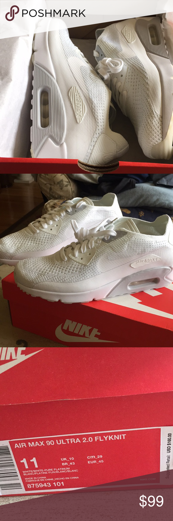 finest selection 51d27 acd07 Nike air max 90 ultra 2.0 flyknit white size 11