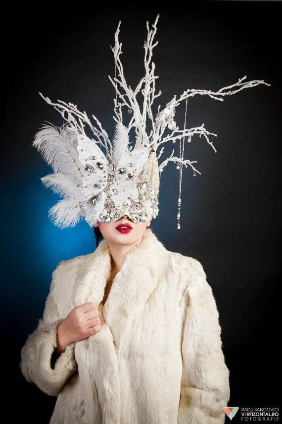 Ice Queen Headpiece, Crystal Masquerade Mask, White Venetian Mask, Swarovski Elements Headpiece on Etsy, $620.00