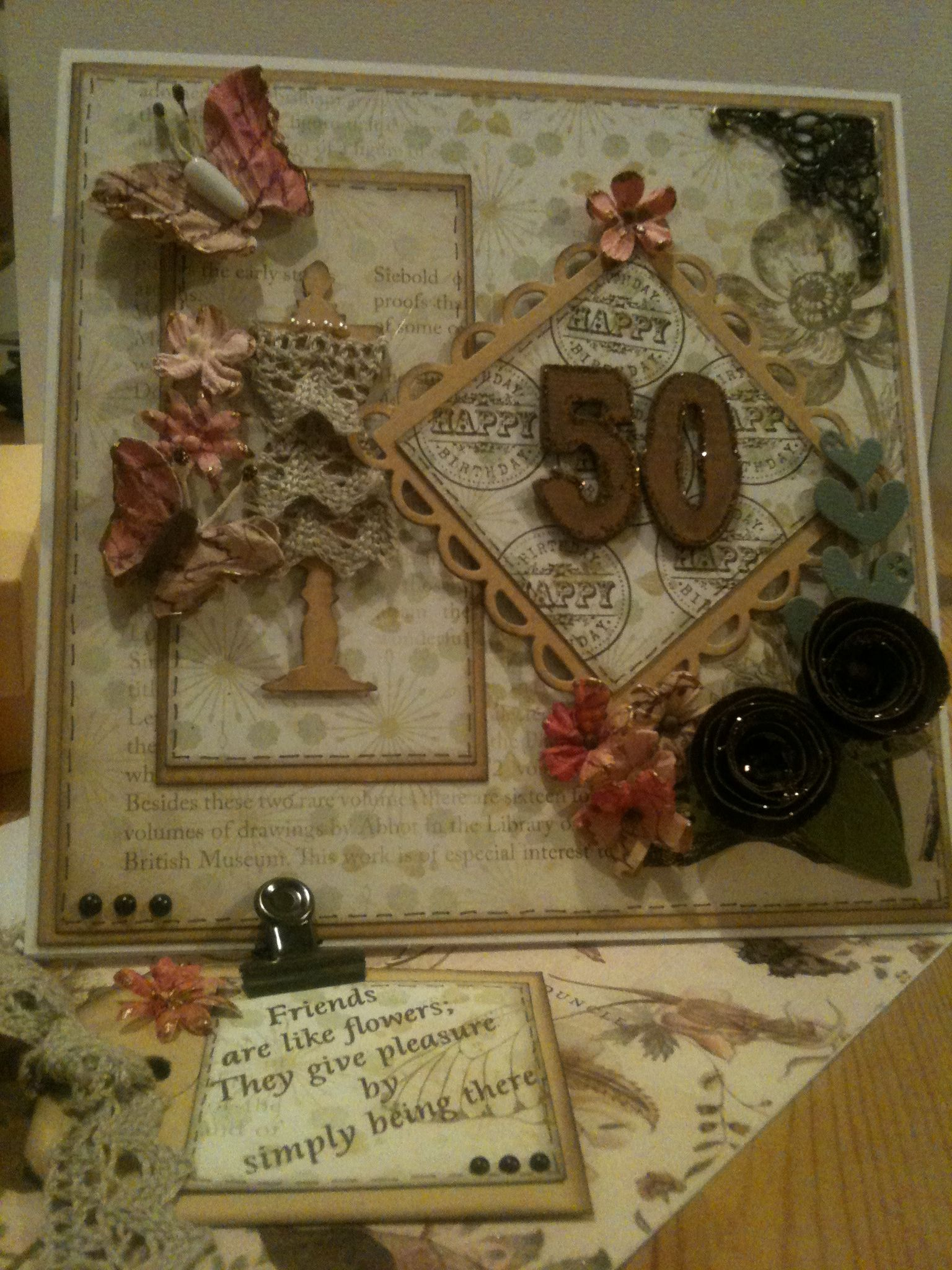 Vintage th birthday card twisted easel using mixed media card