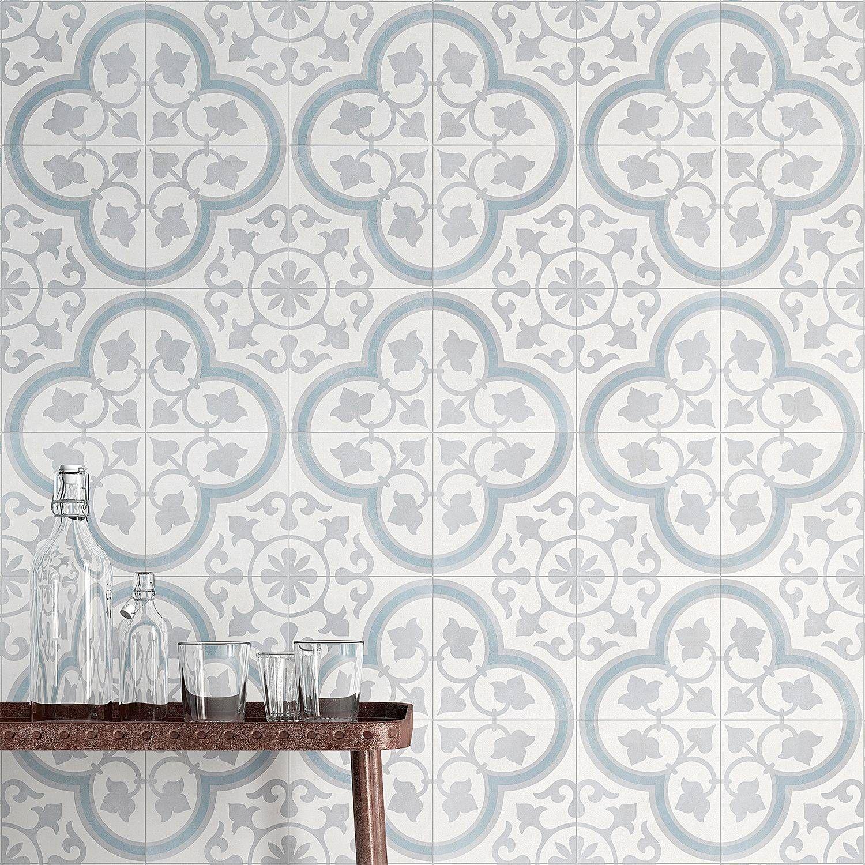 Lapaz Silver Ornate 9x9 Matte Porcelain Tile | Tilebar.com
