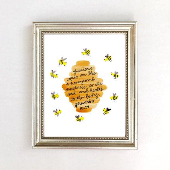 Watercolor Bee Wall Art Print Painting Verse