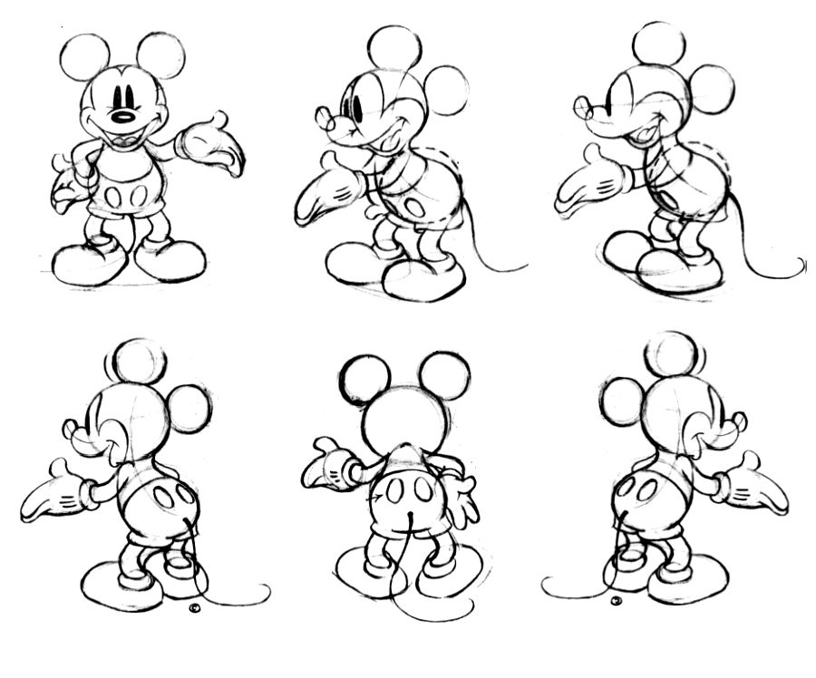 Character Design Learning : Mickey mouse model sheet ★ character design