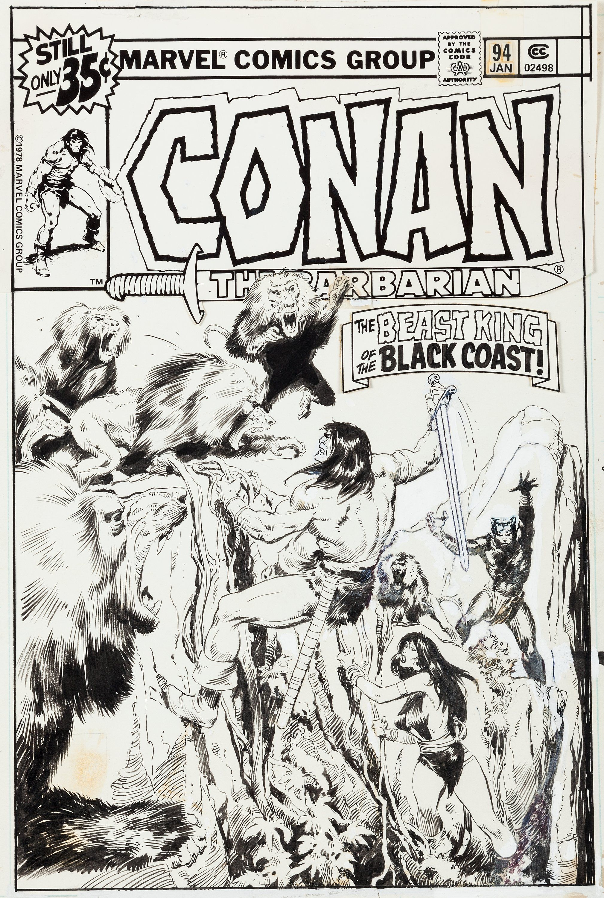 "John Buscema Conan the Barbarian #94 Cover Original Art (Marvel, 1979). ""A Conan cover with Bêlit"" is on many a want list, but Conan's paramour, the Queen of the Black Coast, appeared on less than 20 covers in the series, so there aren't many to go around. Both penciled and inked by Buscema."