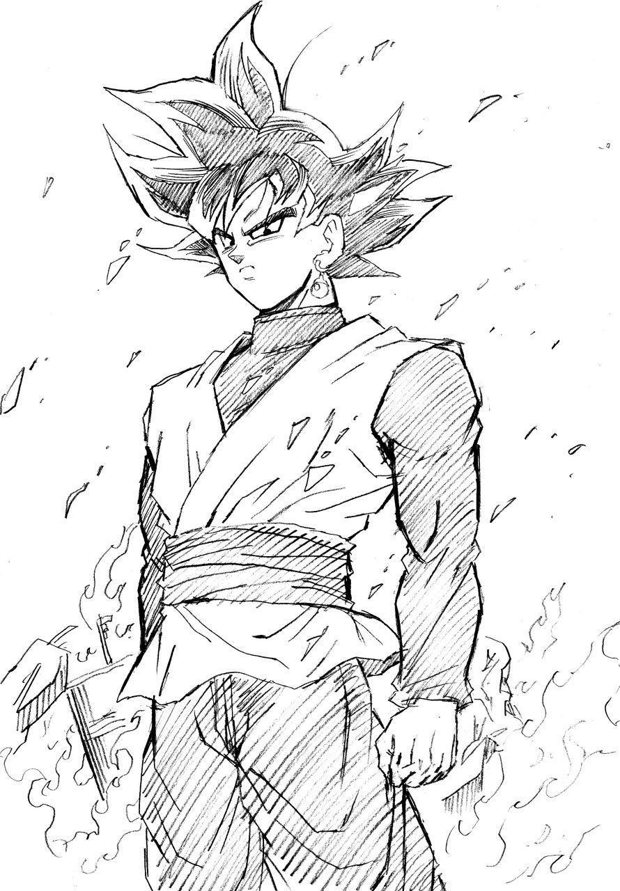 Draw black goku draw easy